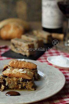 Receta de manitas de cerdo, shiitake y foie. Tapas, Waffles, Breakfast, Desserts, Food, Mushrooms, Salads, World, Appetizers