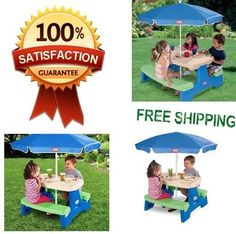 Picnic Table with Umbrella Outdoor Kids Toys Little Tikes Jr. Play 4 Children !!