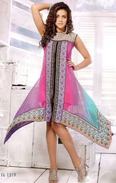 Stylish and beautiful in this pink shaded kurti, crafted with decorative floral print pattern on the center panel.