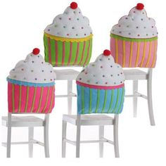 "RAZ Cupcake Chair Backer Party Decoration  Set of 4 Assorted Multicolored Cupcake Chair Backers Made of Polyester Measures 19"" X 19"" Spot Clean Only RAZ Exclusive  RAZ Spring & Summer"