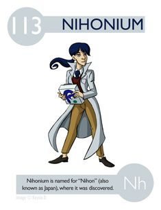 113 Nihonium (Nh) Experiments in Character Design: Photo Teaching Chemistry, Science Chemistry, Science Facts, Physical Science, Science Education, Science Experiments, Chemistry Posters, Chemistry Classroom, Element Chemistry