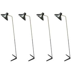 Four Italian Mid-Century Articulated Floor Lamps by O Luce