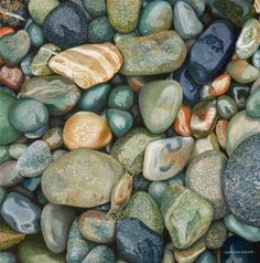 Paint Natures Bounty using Derwent Coloursoft Pencils. Step-by-step demo to paint stones on the beach by Graham Brace