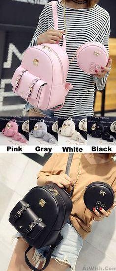 Fresh Stereo Flowers Small Bag Gift Circular Mini Shoulder Bag PU Lady Backpack for big sale! #pu #lady #bag #fresh #flower #Backpack