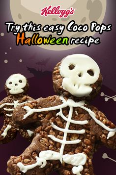 With Halloween just around the corner, give this spooky dessert recipe a try using Kellogg's® Coco Pops®. Create fun skeleton cut-outs for the ultimate Trick or Treat food, bound to make you the neighbourhood favourite. They're easy, delicious, quick to make and the kids love the chocolate and white chocolate fondant!