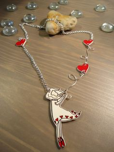 'Sweep me off my feet' shrink plastic girl with hearts silver necklace £12.50