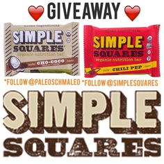 Morning GUYS  Let's start your weekend off right with a giveaway! We teamed up with @simplesquares to offer you guys A VARIETY PACK of 12 delicious bars ❤️❤️❤️❤️❤️❤️❤️❤️❤️❤️❤️❤️❤️❤️ - RULES:  Must follow @simplesquares  Must follow @paleoschmaleo  Tag at least 3 friends  US only, ends 4 today  MUST have a great Friday  ❤️❤️❤️❤️❤️❤️❤️❤️❤️❤️❤️❤️❤️❤️ #paleo #keepitpaleo #giveaway #jerf #cleanbars #glutenfree #grainfree #dairyfree #snacktime #progressnotperfection KA