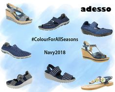 Navy is still a huge trend this season and these shoes could be just the thing to carry you into Spring. A colour that never goes out of fashion & can be paired with almost all colours to complete your outfit! Uk Sites, Shoe Company, New Shoes, Leather Sandals, Going Out, Colours, Pairs, Navy, Spring