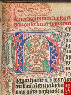 Puzzle initial 'H'(ere), at the beginning of the Hours of the Virgin.   Origin:Netherlands, N. (Haarlem or Amsterdam?)