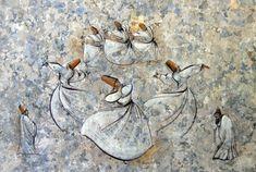 mevlana dancing in ebru art