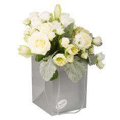 Bouquet of roses, tros, dusty miller, lisianthus, amaryllis