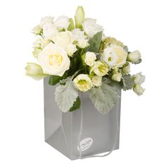 Bouquet of roses, tros, dusty miller, lisianthus, amaryllis