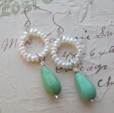 Pearl beaded earrings with Turquoise Pendant  from Pandahall.com: