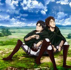 Official Ereri Art of Eren sleeping against Levi who's leaning against him in return and drinking black tea