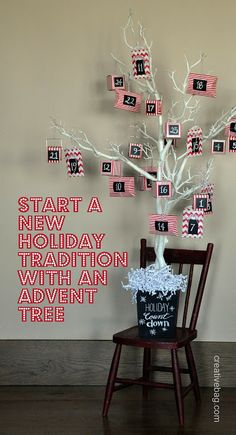 advent tree diy. I like this but I would use a mini Christmas tree. A bit more festive, I'm not really a fan of the barren look.