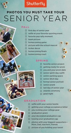From pep-rallies to prom, capture your favorite memories of your senior year with this photo checklist. | Shutterfly