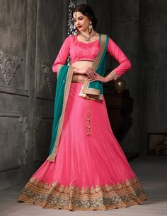Pink And Rama Color Soft Net Party Wear Lehenga Choli - ClickOnBazar