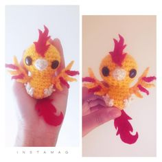 Baby Moltres is finished :3 pattern for him coming out tomorrow on my Ravelry store❣️❣️ (Check bio for link) ❤️#ebonykattami #moltres #teambbqchicken #teambbq #valor #pokemonamigurumi #pokemon #pokemongo #instamag