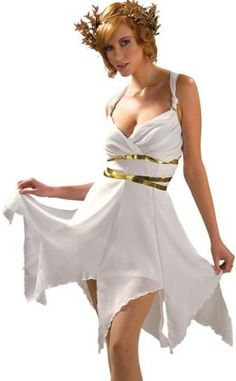 Sexy White Afrodita Toga Disfraz Diosa griega Outfit Womens estándar de EE.UU. (6-12) - Juguetes1A Colombia
