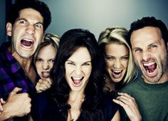 "Cool picture of some cast members from ""The Walking Dead"". How awesome is the show."