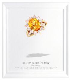 18 carats yellow gold set with a fabulous yellow Ceylon sapphire