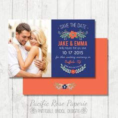 Navy and Coral Save the Date  Floral Wedding by PacificRosePaperie