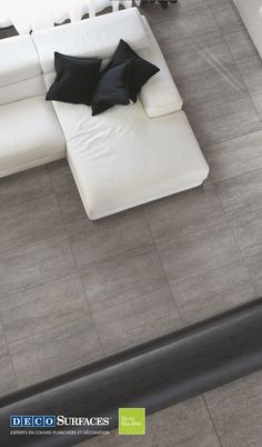 Beautiful anthracite gray ceramic tiles that can be used for many rooms and decorations! rnrnSource by Deco_Surfaces Floor Chair, Mattress, Tiles, Sweet Home, Flooring, Ceramics, Corridor, Plans, Bed
