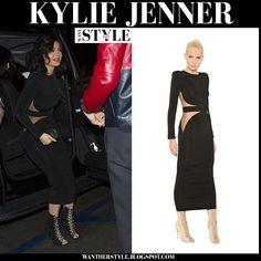 658116b083f Kylie Jenner in black long sleeve Balmain dress on January 2