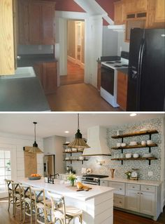 """Fixer Upper"" - The Beanstalk Bungalow (season 3 episode 11) - kitchen before and after view 1."