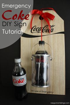Emergency Diet Coke Sign Tutorial - Diet Coke - Ideas of Diet Coke - Must make this cute Emergency diet coke sign. So cute and perfect DIY mom or teacher gift idea! life family party christmas crafts home house Cola Light, Personalized Gifts, Handmade Gifts, Diet Coke, In Case Of Emergency, Diy Signs, Teacher Appreciation, Cute Gifts, Decoration