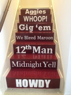 Texas A & M  staircase - going to gameroom College Station, My College, College Graduation, Graduation Ideas, Texas A&m, Texas Pride, Lone Star State, Tomy, Stairways