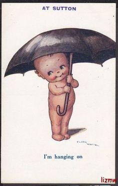 kewpie--I'm hanging on Vintage Greeting Cards, Vintage Postcards, Illustrations, Illustration Art, Vintage Pictures, Cartoon Drawings, Vintage Dolls, Vintage Children, Paper Dolls
