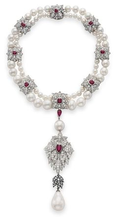 La Peregrina- A Natural Pearl, Diamond, and Ruby Necklace from...