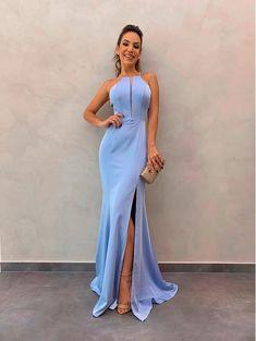 2019 Halter Prom Dresses,Blue prom dress with by PrettyLady on Zibbet Pretty Prom Dresses, Blue Evening Dresses, Black Wedding Dresses, Prom Dresses Blue, Bridesmaid Dresses, Formal Dresses, Ball Dresses, Robes Midi, Slit Dress