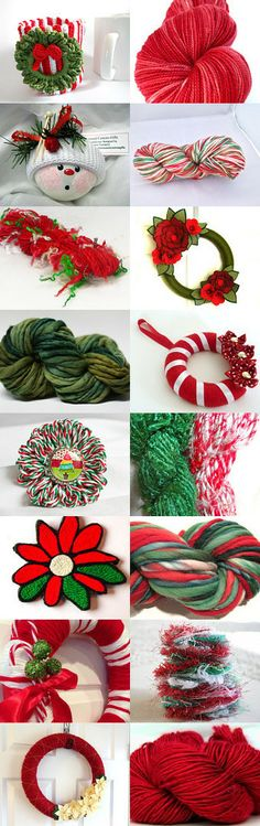 CHRISTMAS yarns and wreaths by STAMATIA THEODOROU on Etsy--Pinned with TreasuryPin.com