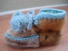 1950s Seal Fur Baby Shoes Booties Moccasins Shoes by bycinbyhand, $45.00