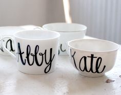 custom calligraphy first name recycled tea cups and mugs