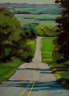 "This reminds me of roads in the summer. A Painting Today: ""Lancaster County"" Karin Jurick Paintings I Love, Small Paintings, Acrylic Paintings, Acrylic Art, Art Paintings, Landscape Paintings, Landscape Fabric, Desert Landscape, Abstract Landscape Painting"