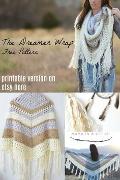 Free crochet pattern and picture tutorial! The dreamer wrap triangle scarf can also be worn as a shawl. Optional fringe and tassels create a dreamy boho look! #bohocrochet #cowl #trianglescarf