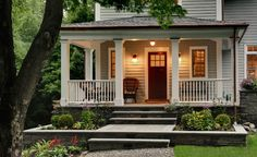 i love this porch and steps w/garden boxes - traditional exterior by Crisp Architects - from houzz.com