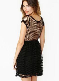 Starry Brenda Short Sleeve Skater Dress in Black Fishnet,  Dress, women dress sexy party  fashion, Chic