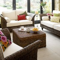 Cotswold Company Linen And Rattan Sunroom Furniture Wicker Living Room
