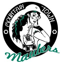 The mountain Town Maulers, one of the roughest toughest and nicest teams in  British Columbia!  Want your roller derby team logo done by lucy Dynamite? Hit me up here: http://www.facebook.com/blacksheepsk8/