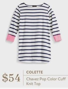 Stitch Fix 2017 - Colette Chavez pop color knit top. Striped 3/4 length sleeved shirt navy & white with pink cuffs. #sponsored #stitchfix