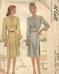 McCall 6351 Vintage anni ' 40 cartamodello / abito / / taglia 12 di studioGpatterns su Etsy https://www.etsy.com/it/listing/125294762/mccall-6351-vintage-anni-40-cartamodello