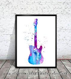 Guitar Watercolor Print Guitar art music art by WatercolorBook