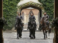 Luke Pasqualino as D'Artagnan, Tom Burke as Athos and Howard Charles as Porthos