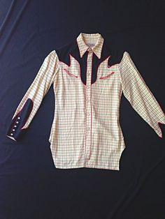 VINTAGE 50s Nudie Cohn Western Wear Mens Wool Cowboy  Shirt plaid hollywood