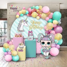 fiesta de 15 aos If you are thinking of throwing a LOL Surprise Birthday Party then this is the post for you. LOL is such an amazingly popular birthday party theme we thought we would c Party Kulissen, Doll Party, Party Ideas, Gift Ideas, Unicorn Birthday Parties, Unicorn Party, Surprise Birthday, 7th Birthday, Birthday Ideas
