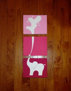 This adorable pink elephant is made from three 8x10 canvases (11x14 also available). Hand painted. Ready to hang. If you would like